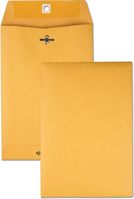 "Quality Park 6-1/2"" x 9-1/2"" Clasp Envelopes, Brown Kraft, Gummed Flap, 100/Box (QUA37763)"