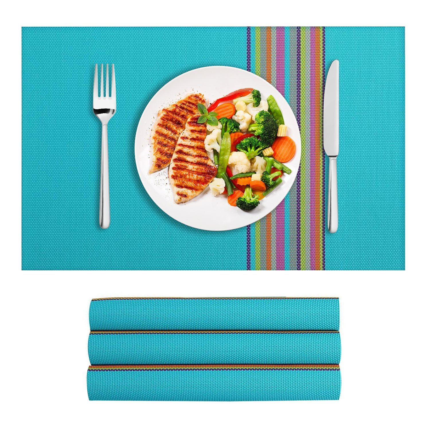 VEEYOO Place Mats Colorful Stripes Woven Vinyl Insulation Stain Resistant Washable Table Placemats Kitchen Dining Table Meal Mat, Set of 4, Turquoise