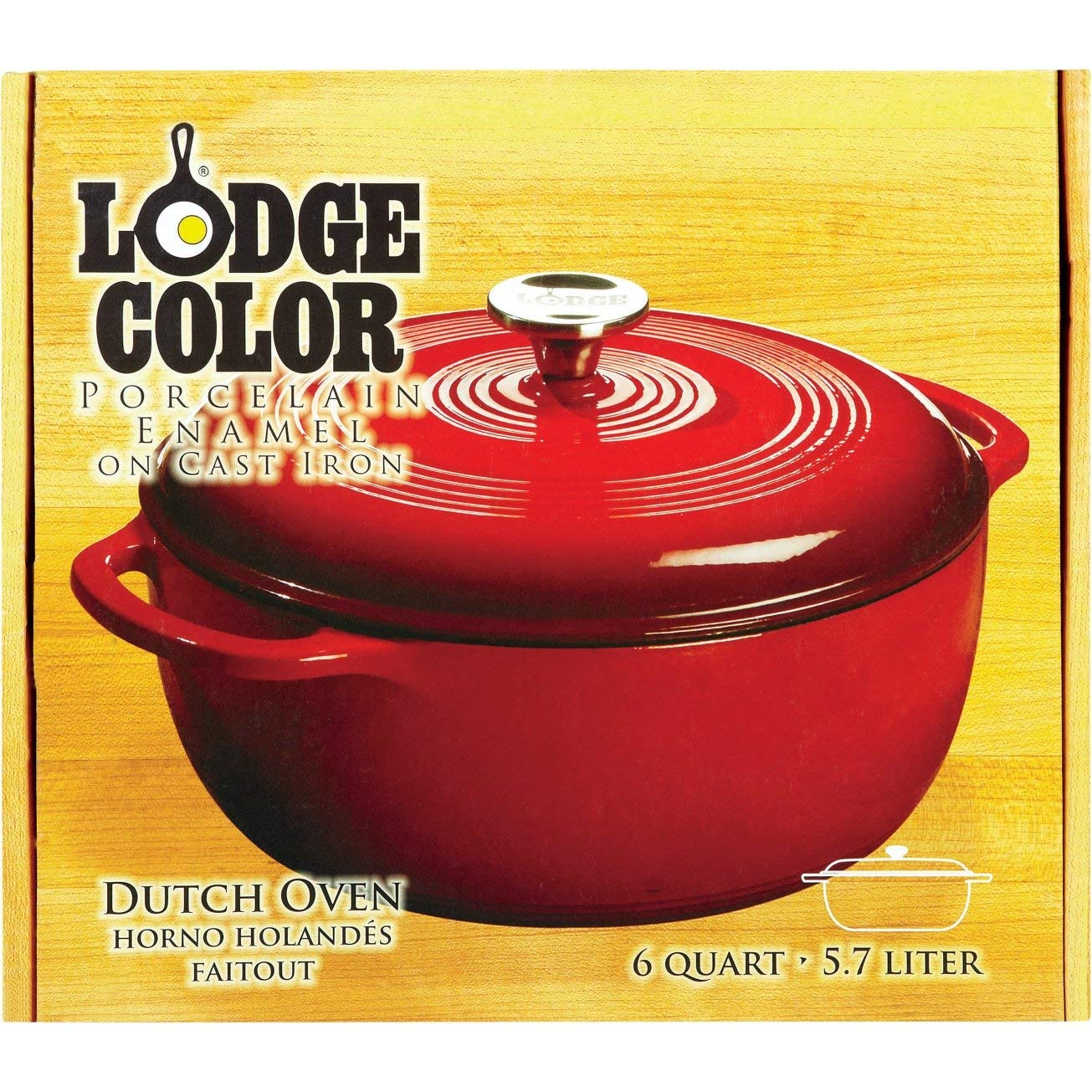Lodge 6 Quart Enameled Cast Iron Dutch Oven. Classic Red Enamel Dutch Oven (Island Spice Red) by Lodge
