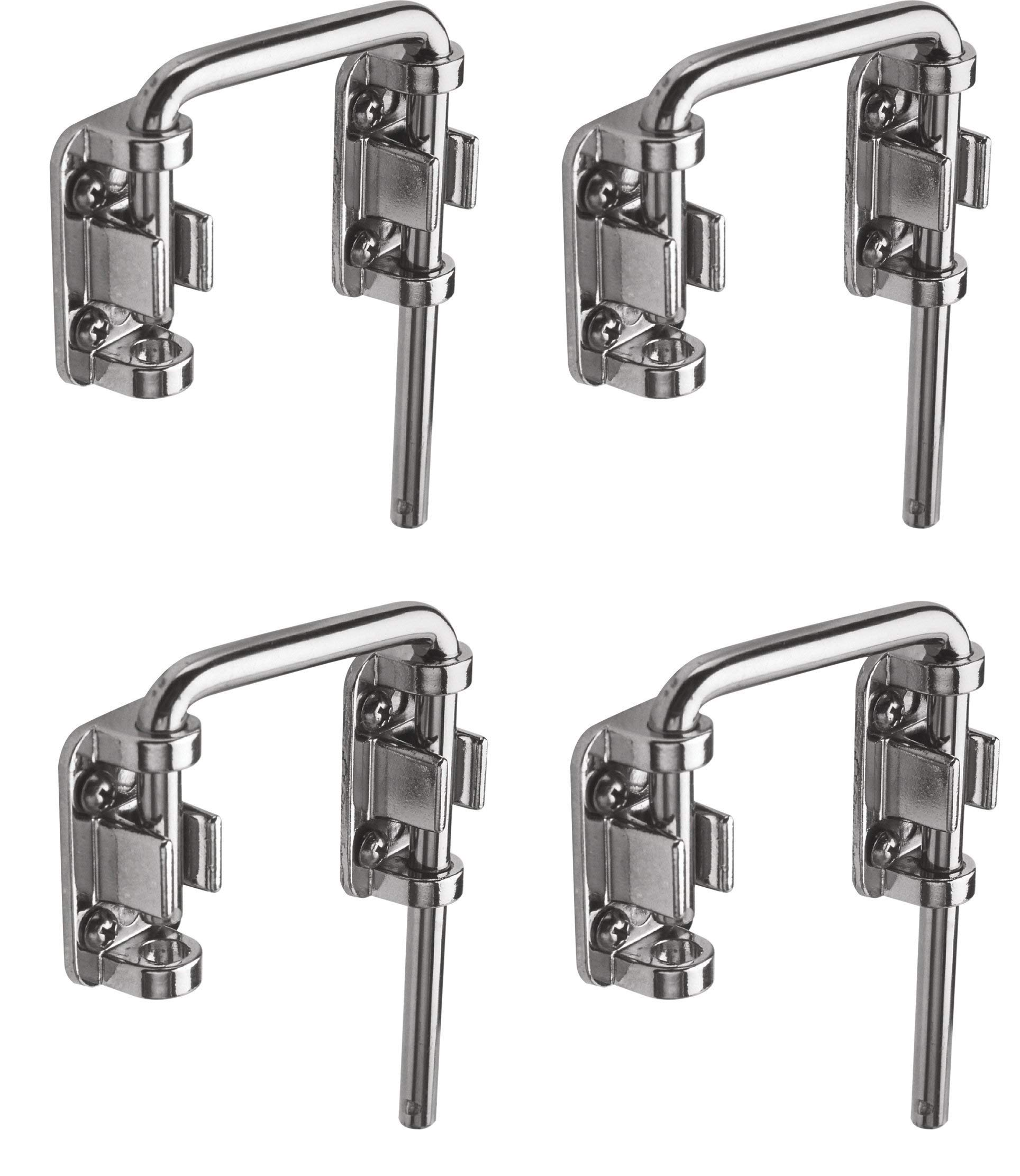"""Defender Security U 9847 Patio Sliding Door Loop Lock – Increase Home Security, Install Additional Child-Safe Security, 2-1/8"""" Hardened Steel Bar with Diecast Base, Chrome Plated (4-(Pack))"""