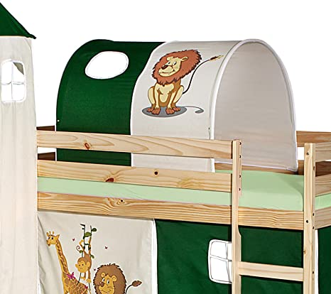 Tunnel For Mid Sleeper Bed With Slide Kids Bed In Jungle Green Beige Amazon De