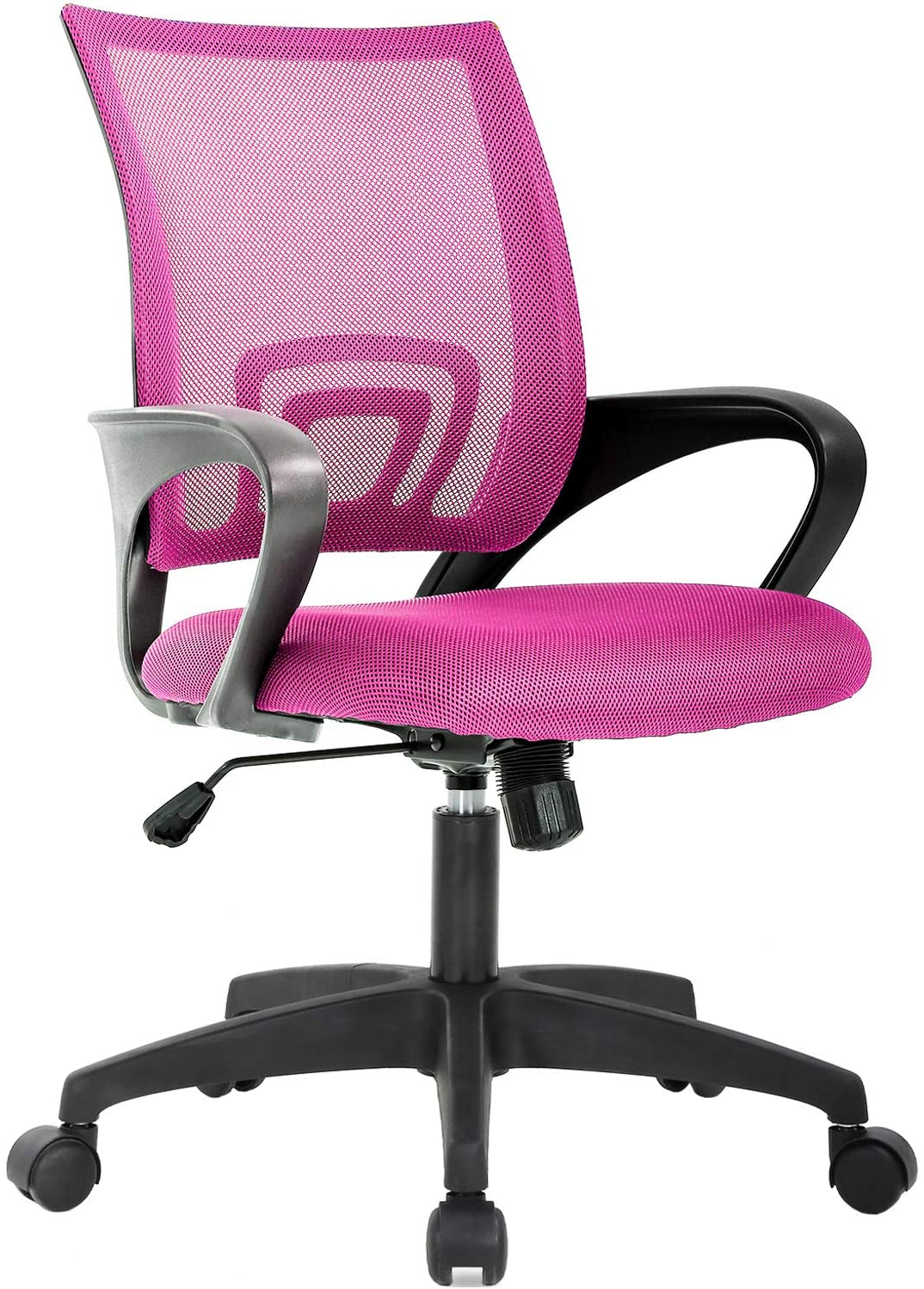 Home Office Chair Ergonomic Desk Chair Mesh Computer Chair with Lumbar Support Armrest Executive Rolling Swivel Adjustable Mid Back Task Chair for Women Adults (Pink)