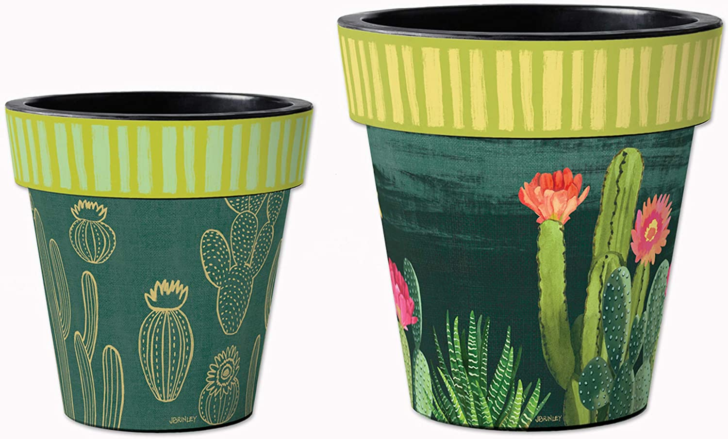 Studio M Night Cactus Art Planters Trendy Southwest Decorative Pots, Fade-Resistant Container for Outdoors or Indoors - Set of 2, Printed in The USA, 12 and 15 Inch Diameter