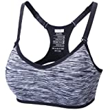 JUNLAN Women's Sports Bra Pullover Open-Back High Impact Support Active Yoga