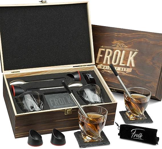 Whiskey Glasses Gift Set for Men - 2 Chilling Stainless-Steel Swizzle Sticks