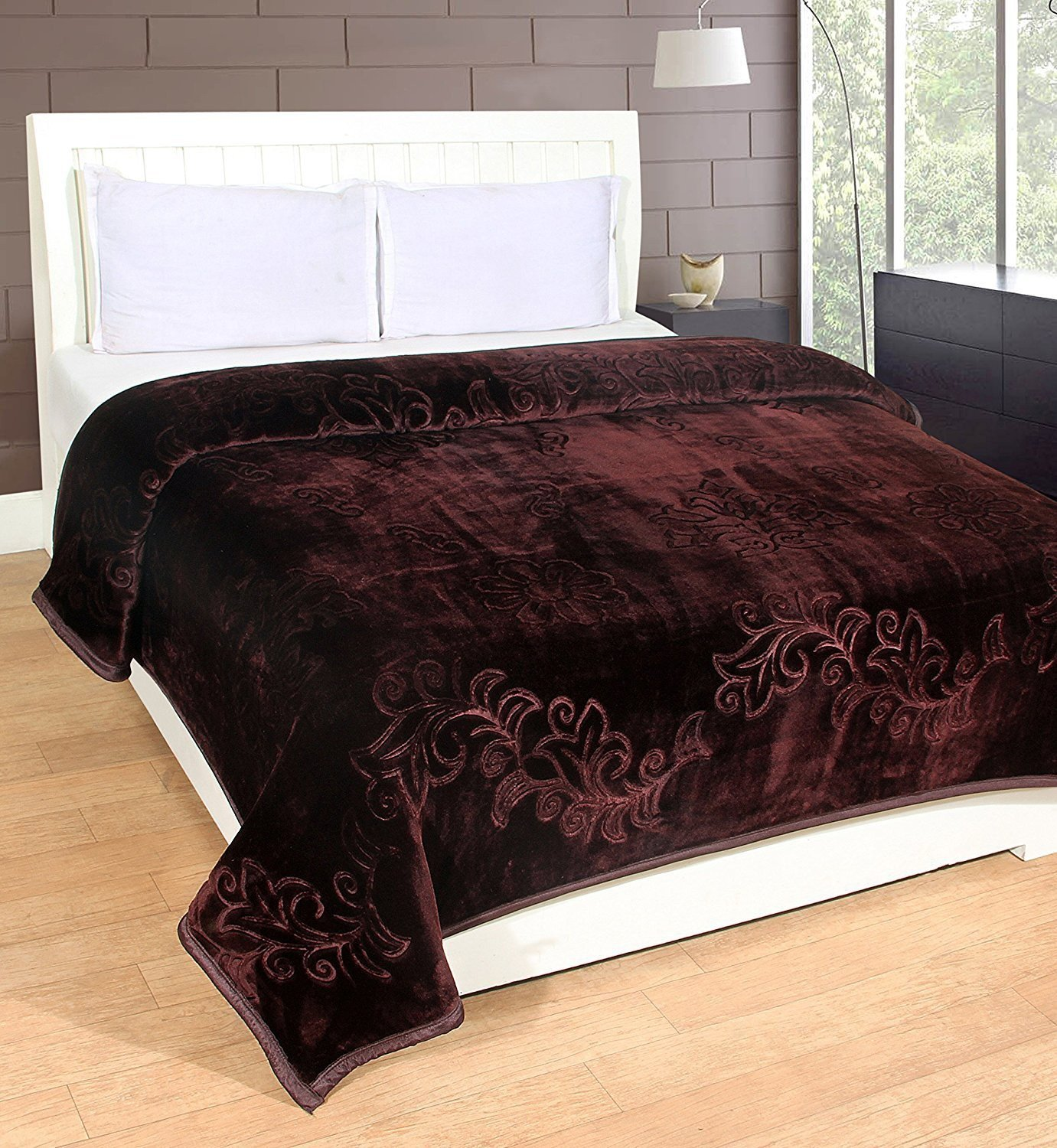 9ad41db9f9 Buy Global Home Brand New Blankets Double Bed Winter Soft Floral Embossed  (Gold Color) - Blanket Bag Online at Low Prices in India - Amazon.in