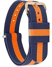 MOMENTO Damen Herren NATO Nylon Ersatz Uhren-Armband Strap mit Edelstahl-Schliesse in Rose-Gold