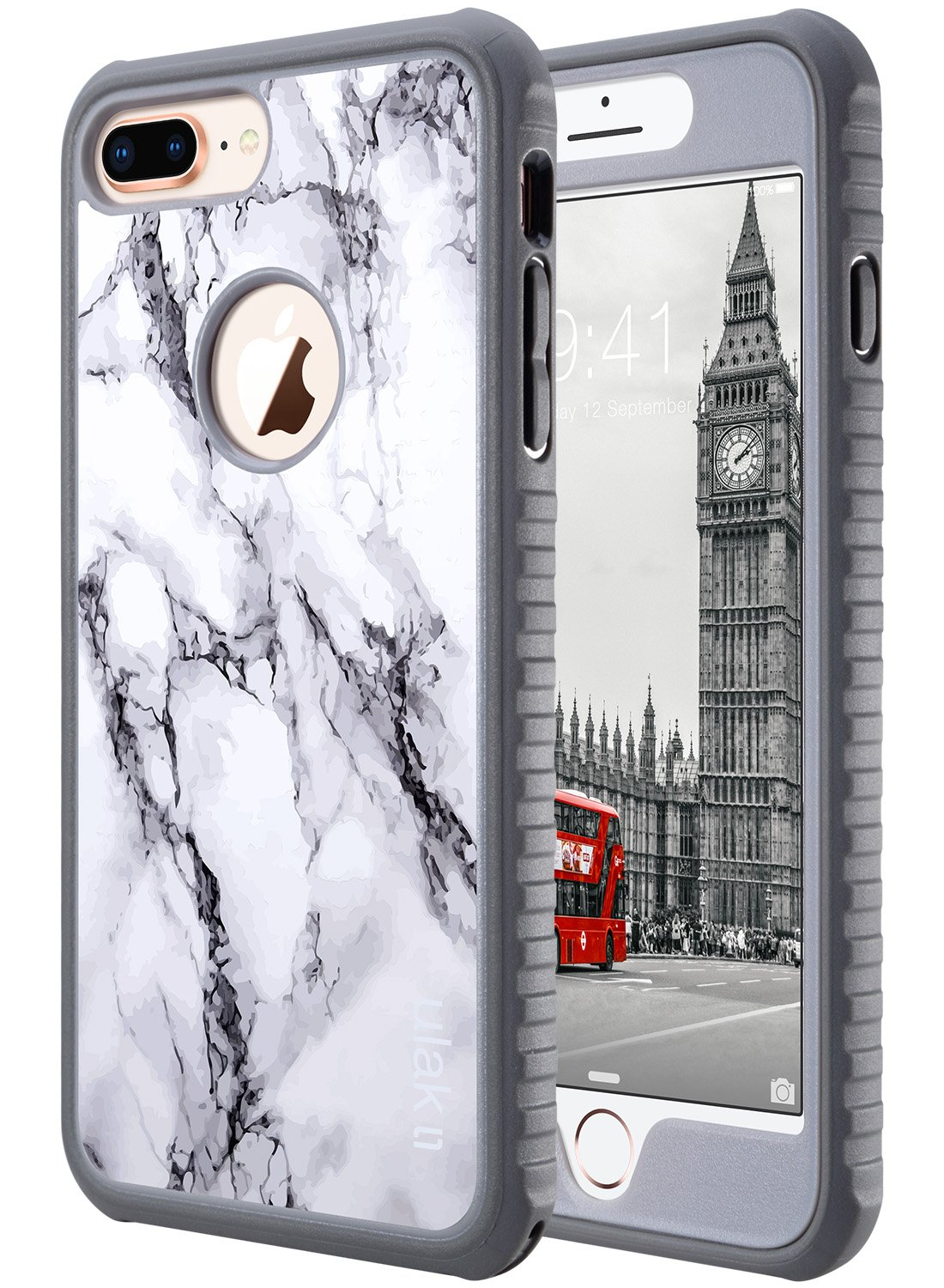 pretty nice fd477 70385 ULAK iPhone 8 Plus Case, iPhone 8 Plus Case Marble, Heavy Duty Shockproof  Flexible TPU Bumper Durable Anti-Slip Lightweight Front and Back Hard ...