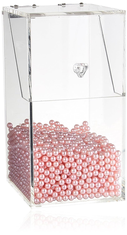 Grand Rose PuTwo Bo/îte de Rangement Organisateur Maquillage pour Pinceaux Transparent en Acrylique avec des Perles Roses Graduites Kardashian Beauty