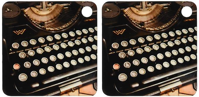 3dRose Continental máquina de escribir - clave cadenas, 2,25 x 4,5 pulgadas, set de 2 (KC _ 29072 _ 1): Amazon.es: Oficina y papelería