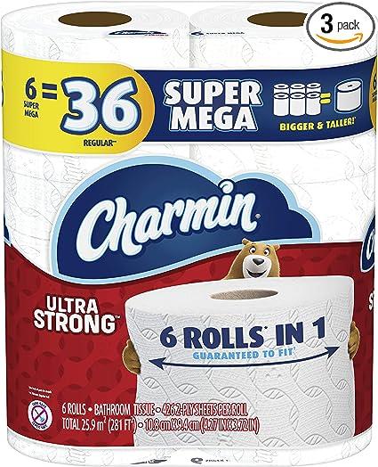 Charmin Ultra Strong Toilet Paper, 18 Super Mega Rolls = 108 Regular Rolls (Packaging May Vary)