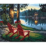 5D Diamond Painting Kits, Full Drill DIY Crystal Rhinestone Embroidery Pictures Arts Craft for Home Wall Decor Gift - Two Chairs Beside The Lake 12x16inch