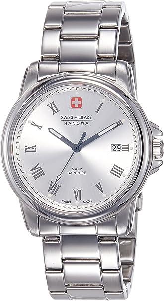 Swiss Military para hombre Swiss reloj infantil de cuarzo con Corporal plateado esfera analógica y plateado correa de acero inoxidable de 6-5259, 04,001: Amazon.es: Relojes