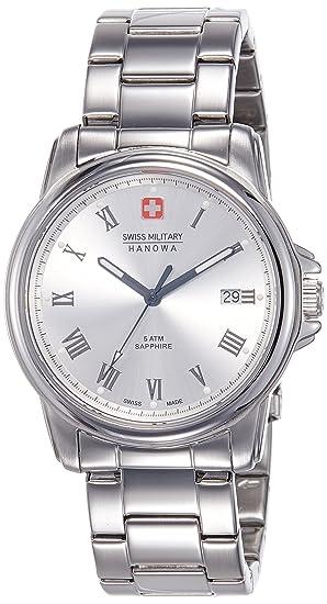 Swiss Military para hombre Swiss reloj infantil de cuarzo con Corporal plateado esfera analógica y plateado correa de acero inoxidable de 6-5259, ...