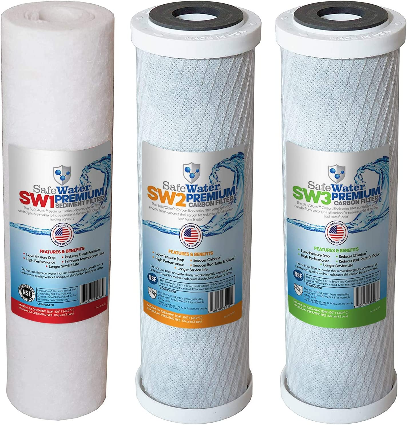 SafeWater Filter-Set USA MADE Reverse Osmosis RO Filter Replacement Set for All Standard and ULTIMATE 3 Stage Systems - Double Capacity - EASY TO INSTALL for GREAT TASTING WATER - NSF Certified