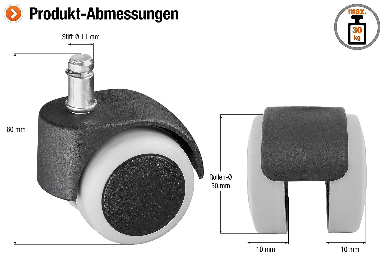 mit Stift und H/ülse TPR-Rad 50 kg Tragkraft // Transportrolle // M/öbelrolle // Containerrolle // Parkettrolle // 800320 Weiche Lauffl/äche Metafranc Doppelrolle /Ø 50 mm Gleitlager
