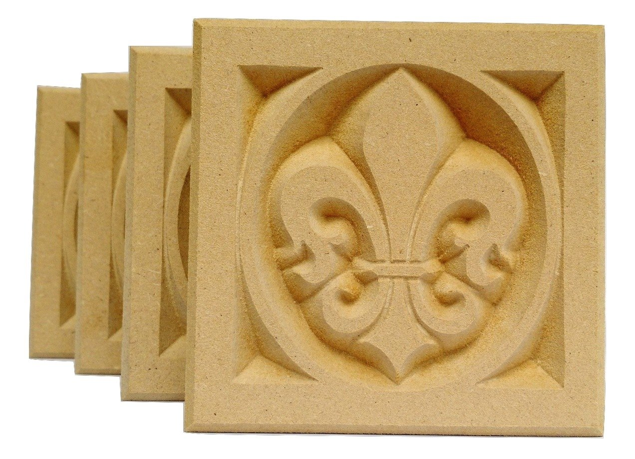 SET OF 4: Carved Fleur de Lis Rosette Blocks, Made in USA (3.5''x3.5'' MDF (paint grade)) by WagnerWood