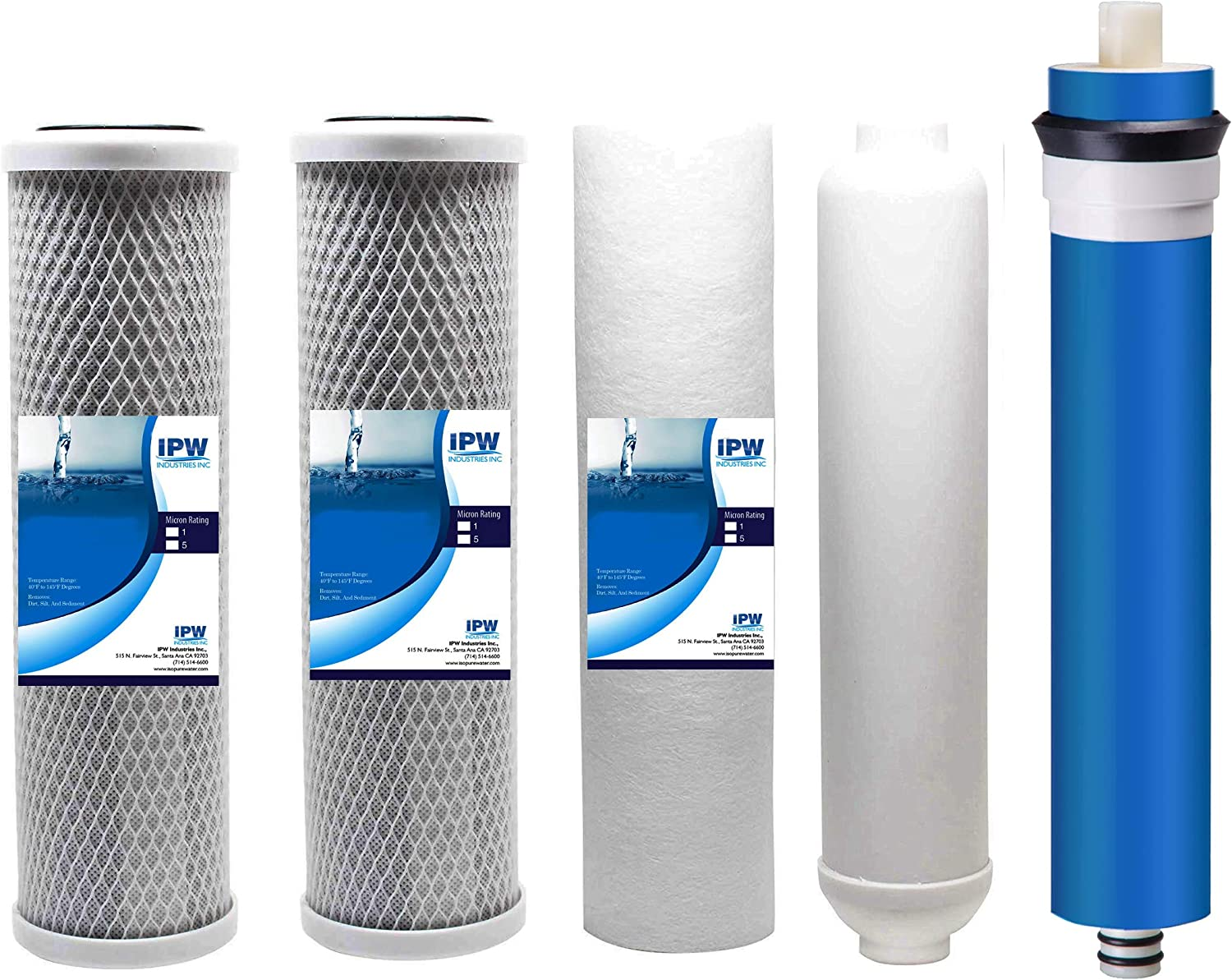 IPW Industries Inc Honeywell RO-9100 Compatible 5 Stage Reverse Osmosis Replacement Filter Bundle (50 GPD, Universal)