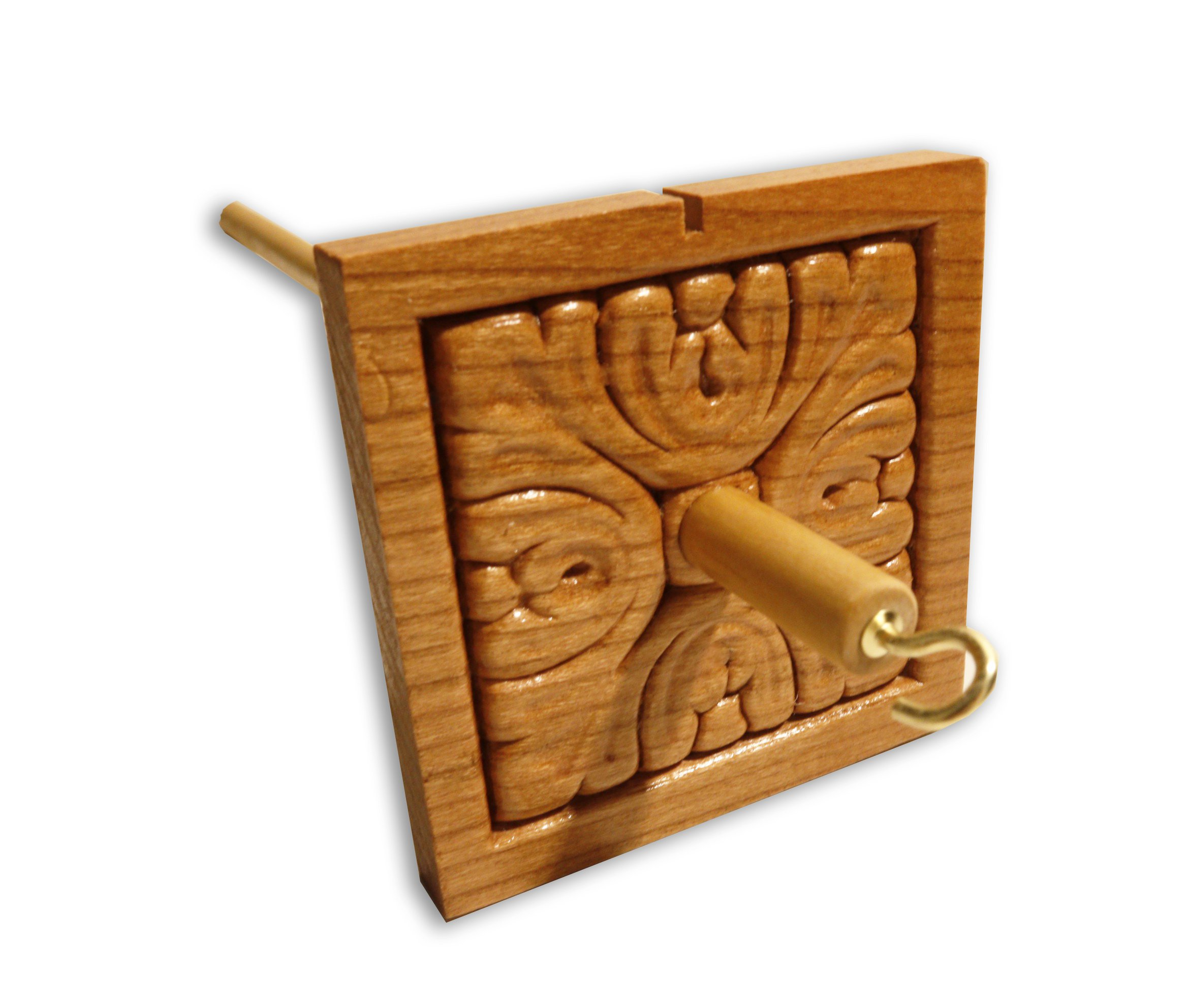 Happy Classy Drop Spindle Acanthus Antique Style Square Top Whorl Hand Carved 12'' Length Clear 1.5 oz