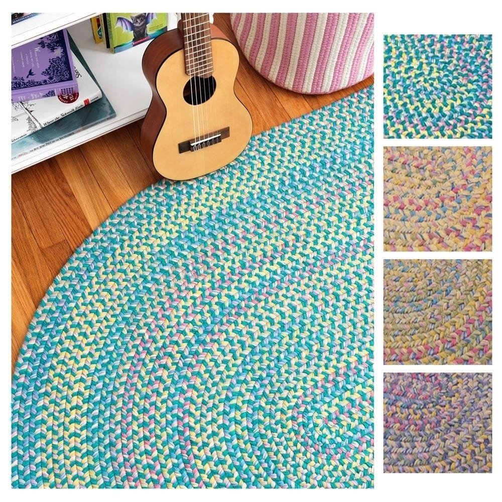 Colonial Mills Emily Chenille Multicolor Braided Rug (3' x 5') - 3' x 5' sunrise yellow Pink, Blue, Green