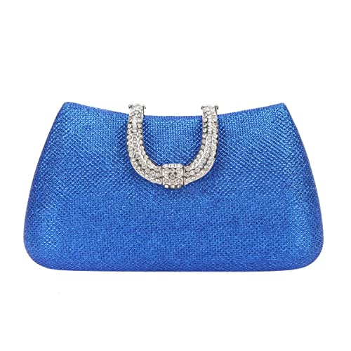 4d9ffd45af Fawziya Glitter Lnitials Clutch Purses For Women Hard Case Evening bag-Blue