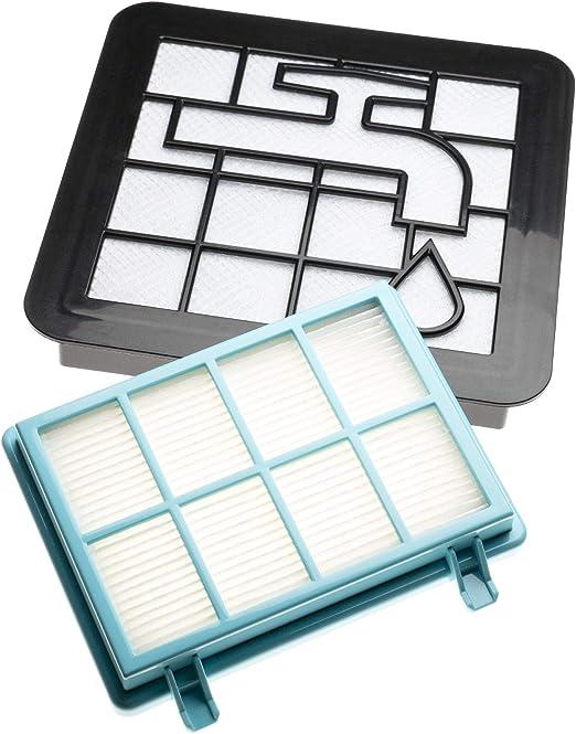 vhbw Set de filtros de recambio para aspiradoras Philips PowerPro Compact FC9330/09, FC9331/07, FC9331/09; Filtro HEPA, protector motor, espuma: Amazon.es: Hogar