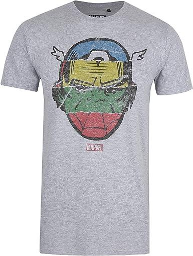 Marvel Avengers Faces-Mens T Shirt Med Camiseta, Gris (Grey ...