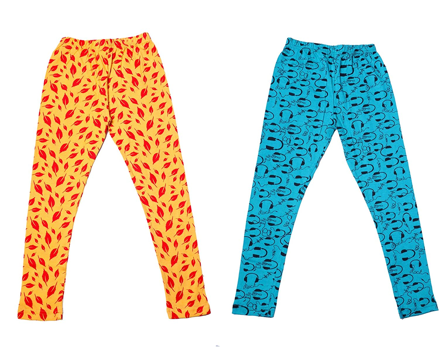 indiWeaves Girls Super Soft and Stylish Cotton Printed Legging Pack Of 2