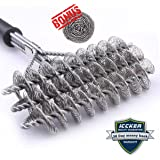"""RWM Bristle Free Grill Brush - ICCKER 100% Safe BBQ Cleaning Brush and Scraper Set 18"""" Long Handle for Stainless Steel,Ceramic, Iron, Gas & Porcelain BBQ Grates"""
