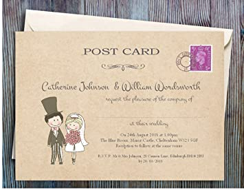 wedding invitations pack of 100 personalised for day or evening