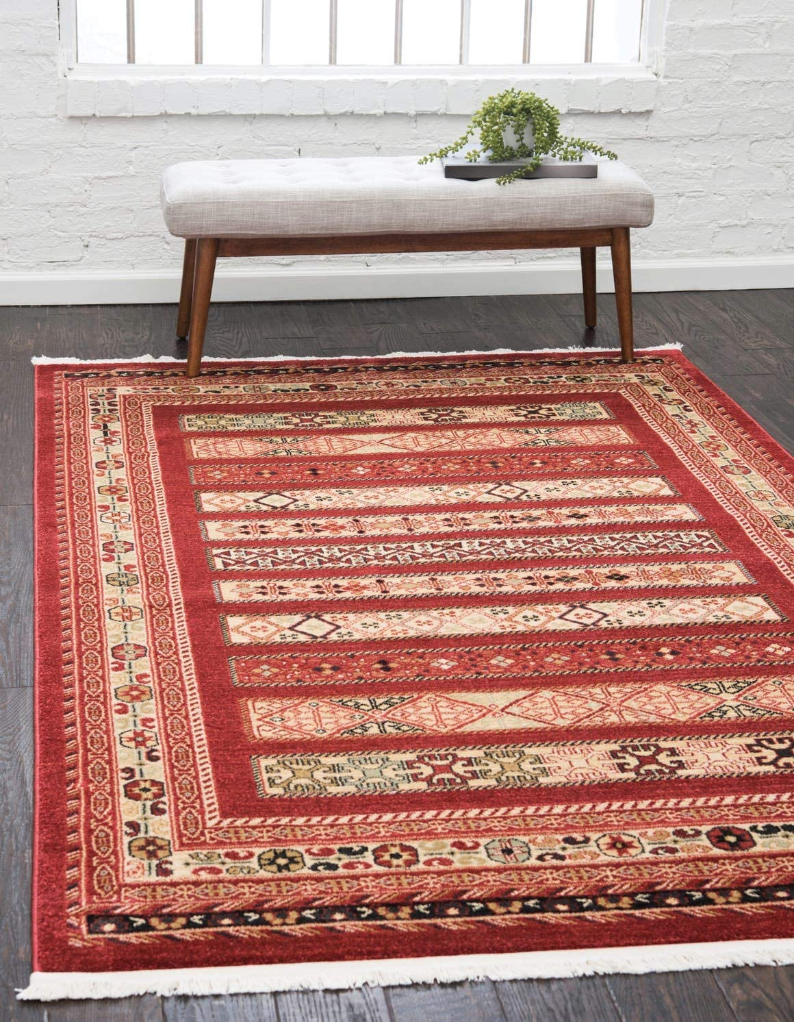 Unique Loom Fars Collection Tribal Modern Casual Rust Red Area Rug 8 0 x 10 0