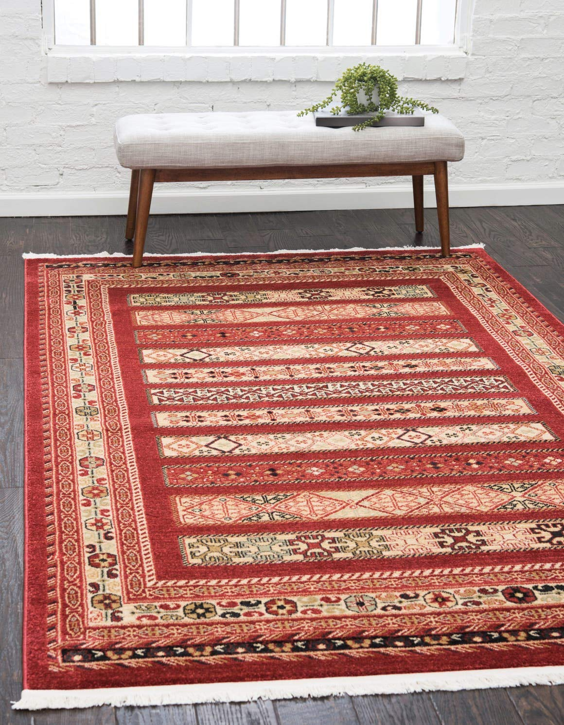 Unique Loom Fars Collection Tribal Modern Casual Rust Red Area Rug 4 0 x 6 0