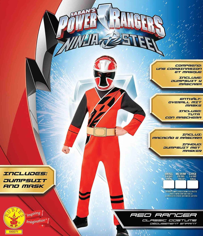 Taille S Gar/çon Rubies-d/éguisement officiel Rubies-Power ranger Ninja steel I-640071S