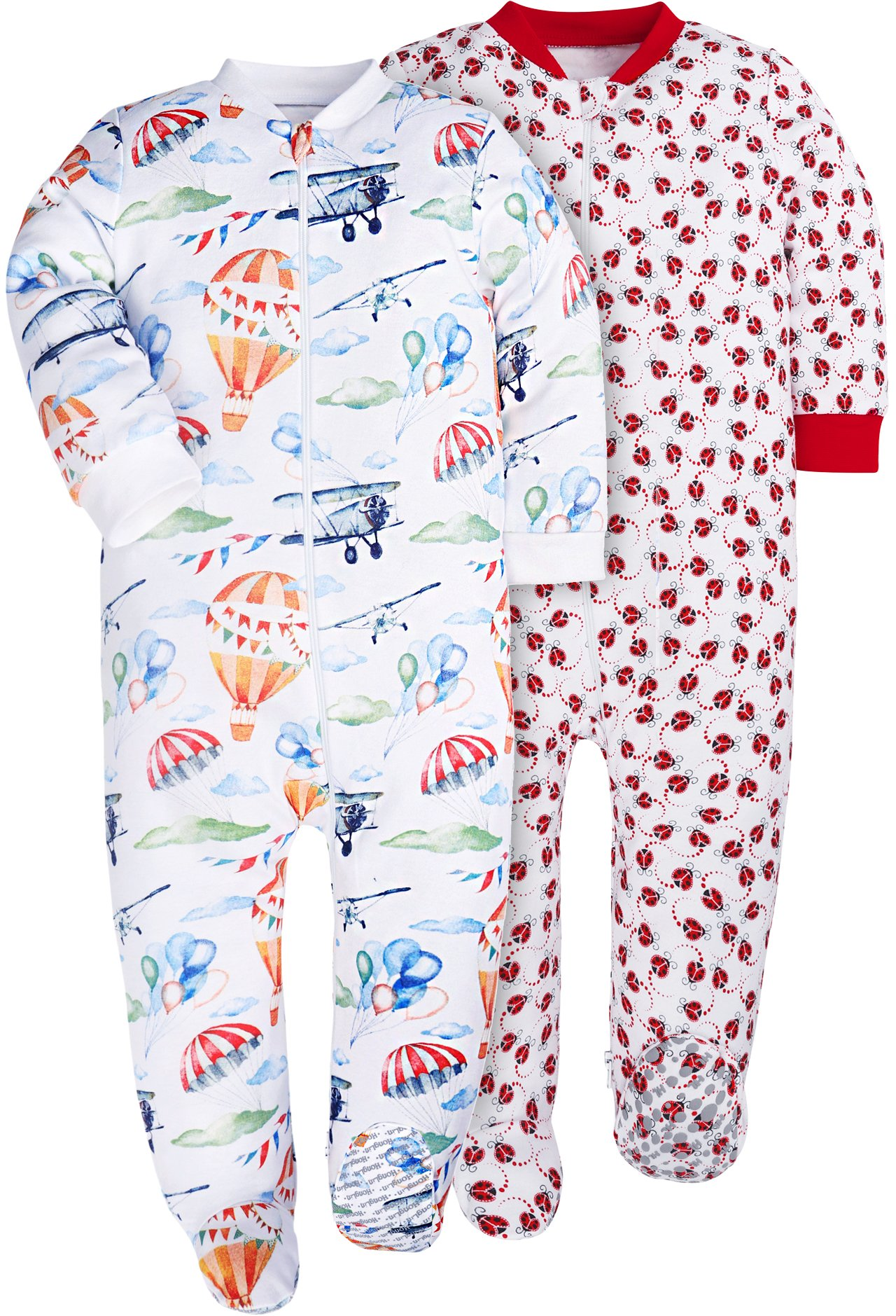 HONGLIN Baby Girls Bodysuits Footies 2-Pack 100% Cotton Non-Slipping Sole (2-Pack Beetle/Hoot Balloon, 18-24 Months)