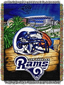 """Officially Licensed NFL """"Home Field Advantage"""" Woven Tapestry Throw Blanket, 48"""" x 60"""", Multi Color"""