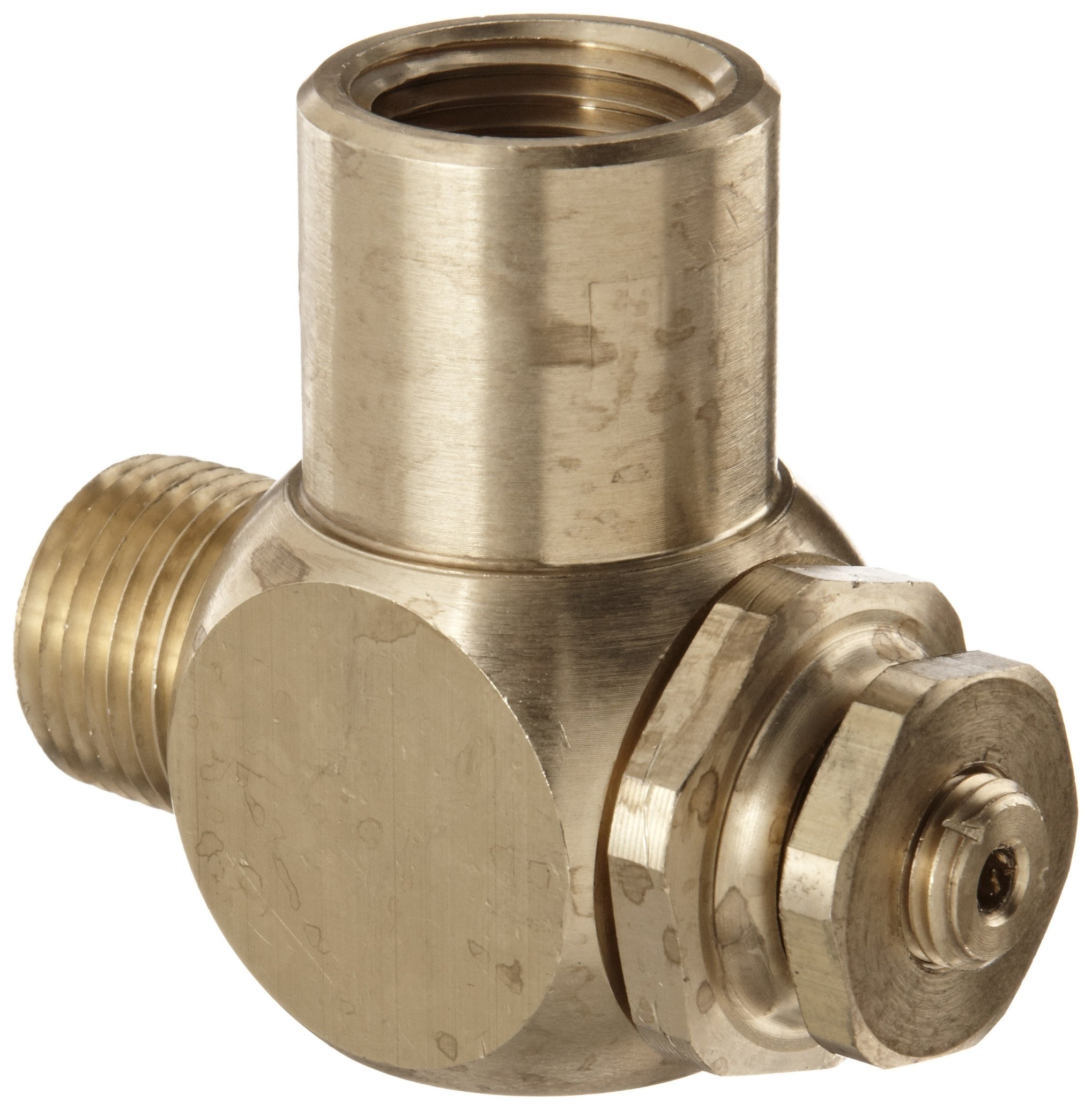 Parker 032510500 3251 Series Brass Right Angle Flow Control Valves, 1/2'' NPT Male x Female, 125 psi