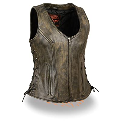 Milwaukee Women's Motorcycle 2GUN Pockets Vest W/Side Laces & Distressed Leather Brown