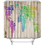 LB Creative Country Name World Map Wood Panels Background Shower Curtain Set For Bathroom