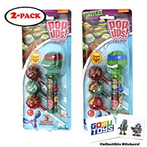 Teenage Mutant Ninja Turtles Pop Ups Lollipop Case Holder (Leonardo, Raphael) with Chupa Chups Lollipops and 2 Gosu Toys Stickers (2 Pack)