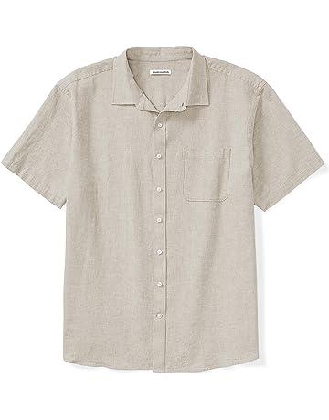 c6d848b4d898 Amazon Essentials Men's Big & Tall Short-Sleeve Linen Cotton Shirt fit ...