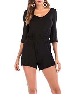 737a7dd3a1d SUNNOW Women s Short Romper Jumpsuit Sexy V Neck Solid Or Floral Printed  3 4 Sleeves
