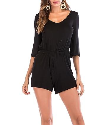 bf06cc204 Amazon.com  SUNNOW Women s Short Romper Jumpsuit Sexy V Neck Solid ...