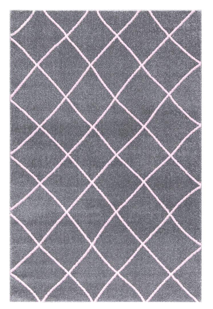Livone Kinderteppich Happy Rugs Kontur Silbergrau rosa 160x230 cm