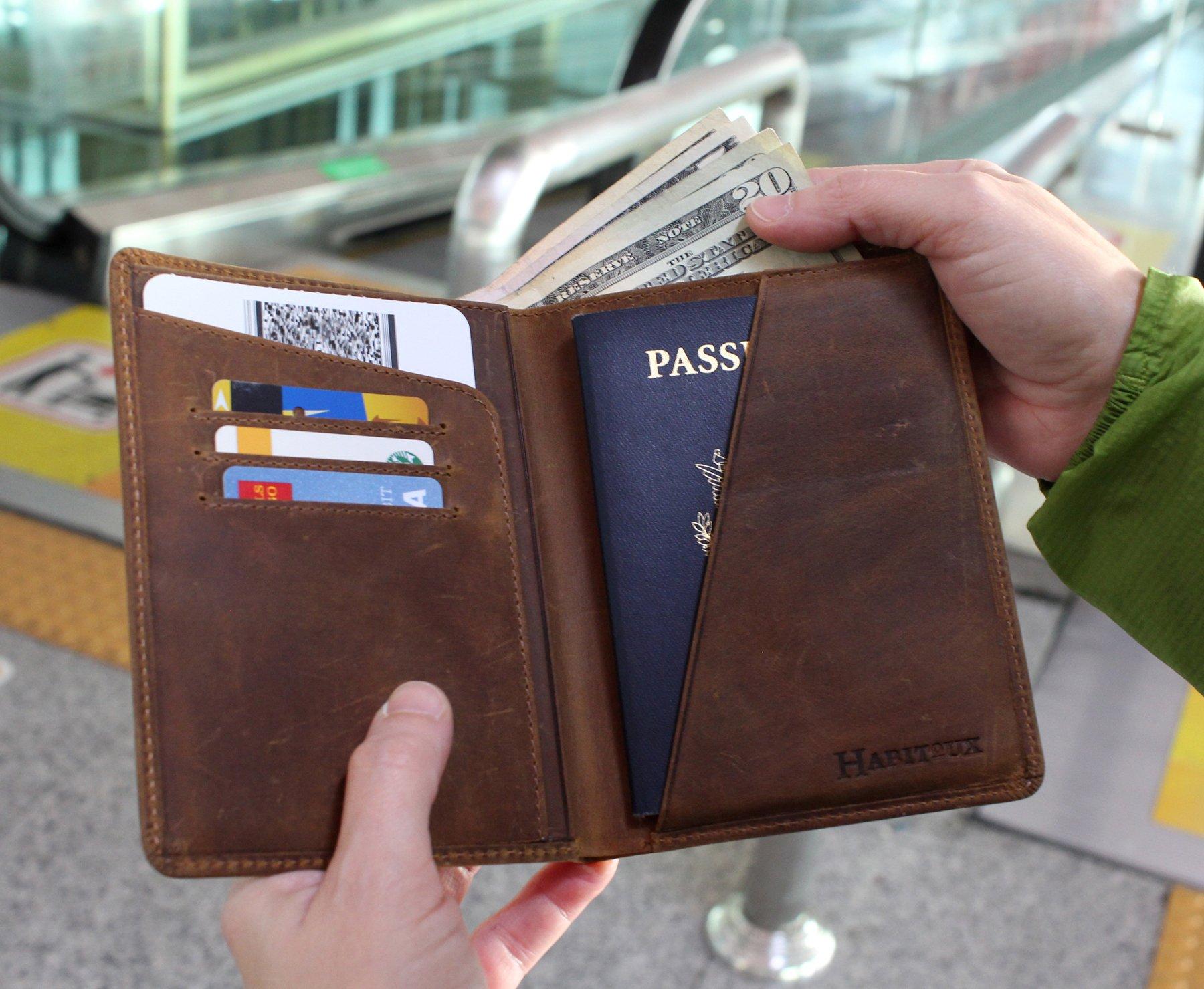 RFID Blocking Passport Holder Travel Wallet - Genuine Crazy Horse Leather by Habitoux (Image #4)