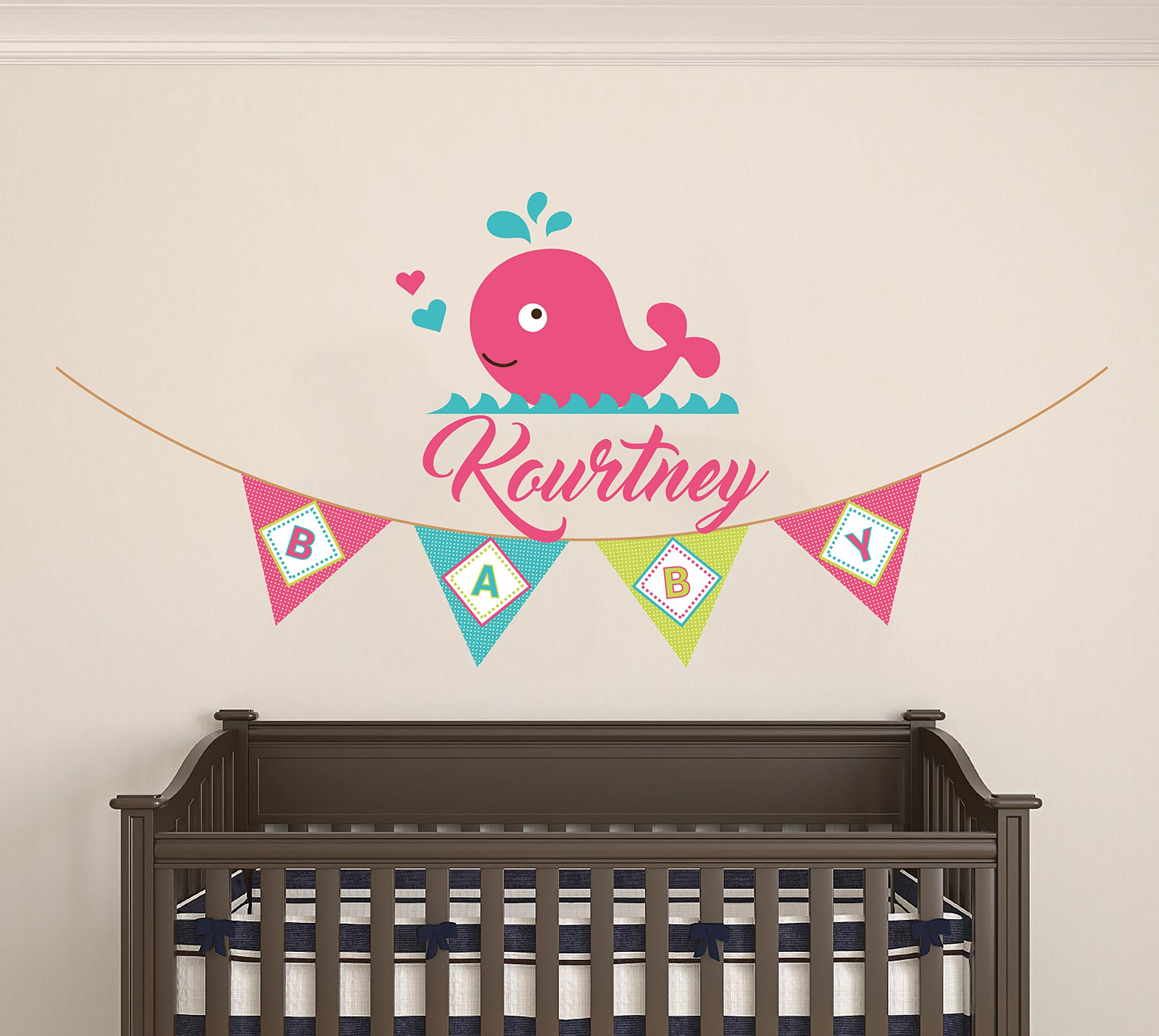 Personalized Name Hearts Pennants And Whale - Marine Animals - Baby Girl - Wall Decal Nursery For Home Bedroom Children (MM) (Wide 40''x19'' Height)