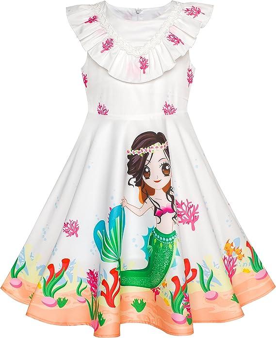 Sunny Fashion Vestidos Meninas Sereia Desenho Animado Princesa