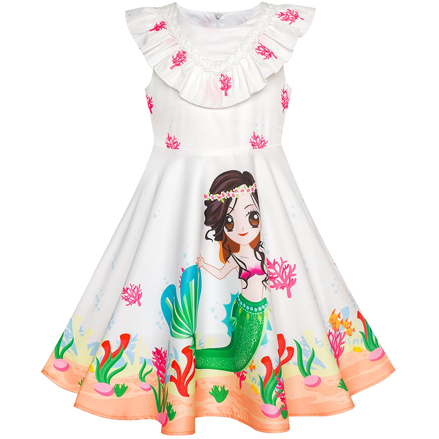 Sunny Fashion Girls Dress Mermaid Cartoon Princess Ruffle Collar Party Dress