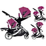 Duellette 21 BS Double Twin Pushchair with 2 footmuffs and Free Changing Bag. Complete with 2 seat units, & 2 rain covers. Dooglebug raspberry. compatible with kids kargo safety pod 0+ car seat