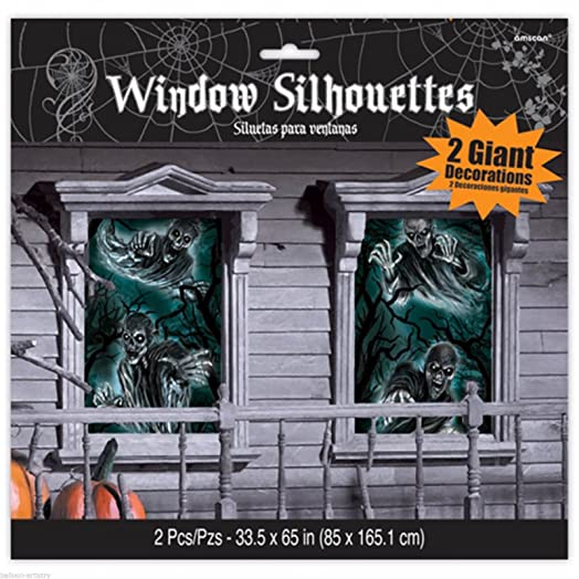 halloween haunted house window silhouettes party decoration