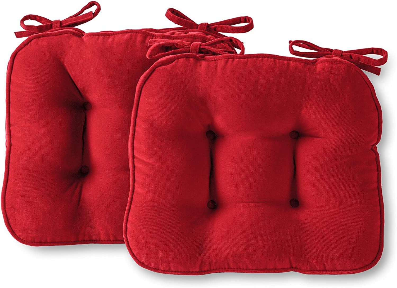 Greendale Home Fashions Hyatt Indoor Microfiber Chair Cushion (Set of 2), Crimson
